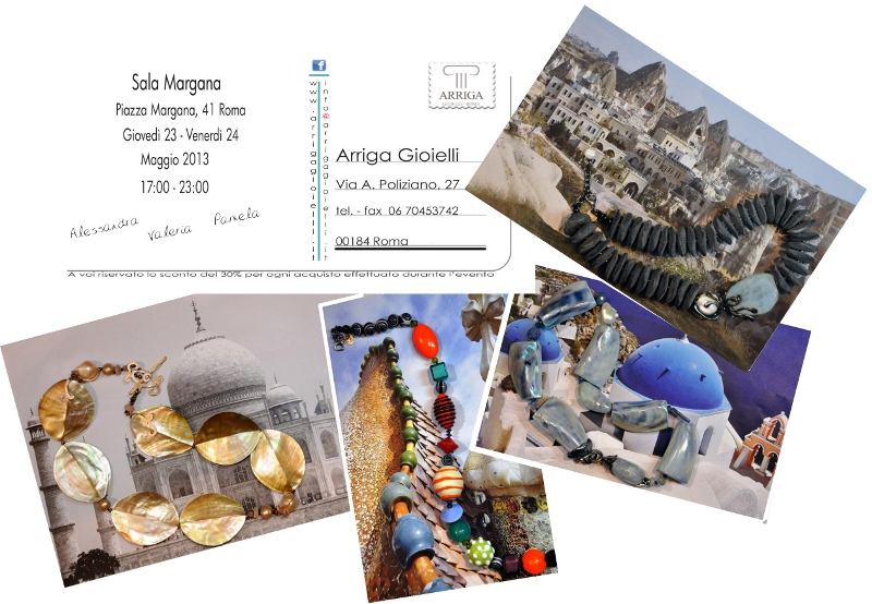 ARRIGA GIOIELLI presents its  2013 jewelry exhibition at Sala Margana. Thursday 23 and Friday 24 May 2013, from 5 to 11 PM, in Piazza Margana 41, in Rome
