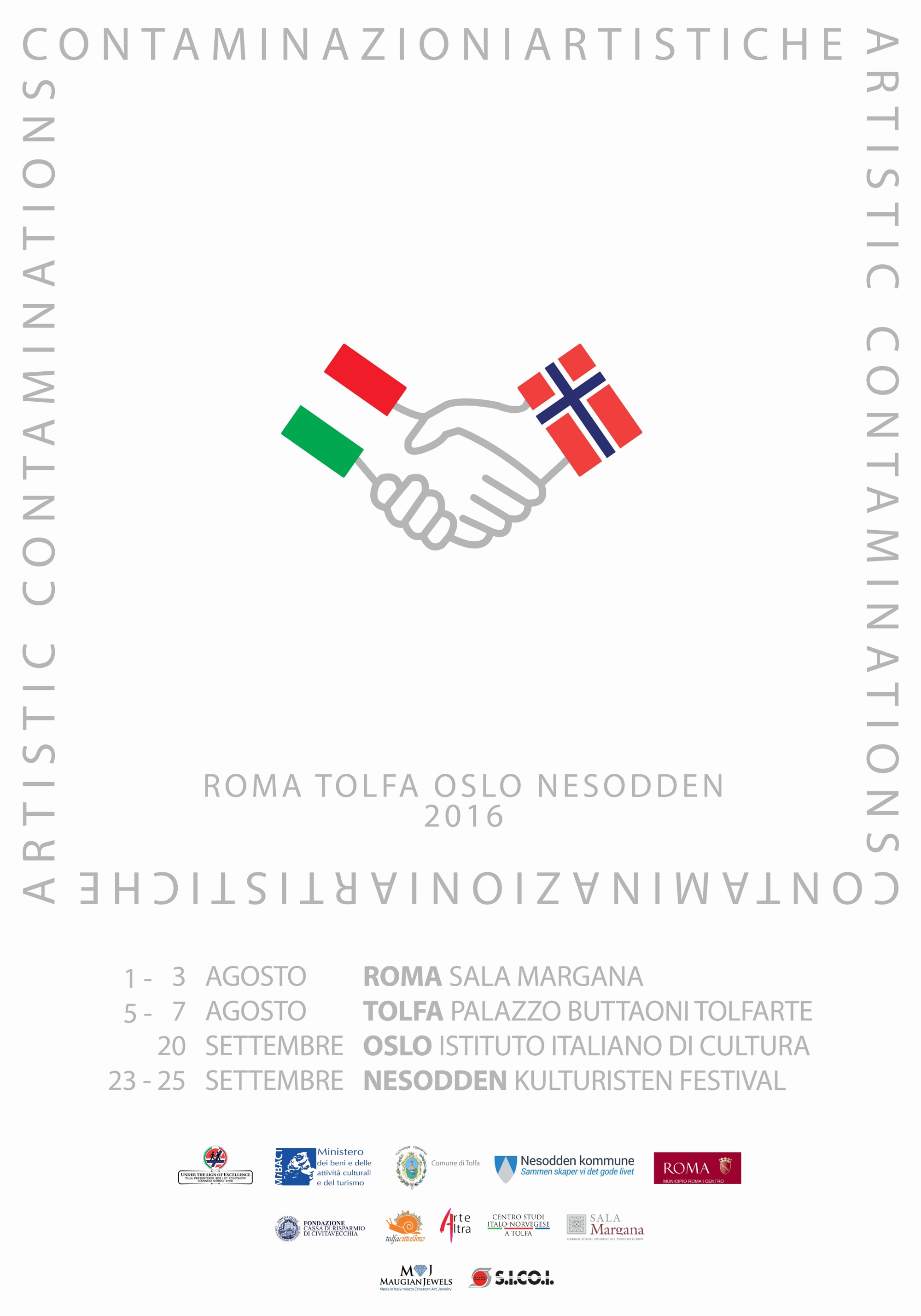 poster for exhibition 'Contaminazioni artistiche – Artistic Contamination'. Opening on 1 August, at 6:30 pm. In Piazza Margana 41, in Rome.
