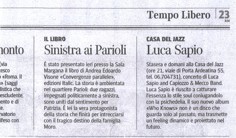 Immagine-scansione dell'articolo pubblicato dal Corriere della Sera sulla presentazione di