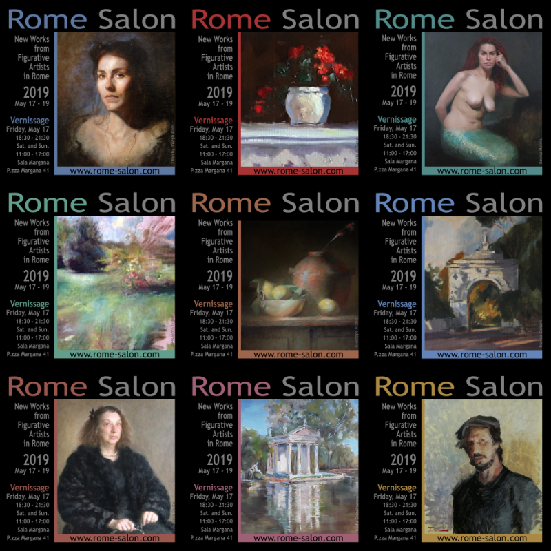ROME Salon, New Works from Figurative Artists in Rome: ALLEN, CATTANI, CRESCIMANNO, D'ESTE, DI TONTO, DUPRÈ, FRANCESCONI, MELVIN, NUBILA. 17 – 19 MAY 2019, at Sala Margana, in Piazza Margana 41, Rome. Vernissage Friday 17 May, 6:30 – 9:30 PM; Saturday 18 and Sunday 19 opening hours: 11 AM – 5 PM